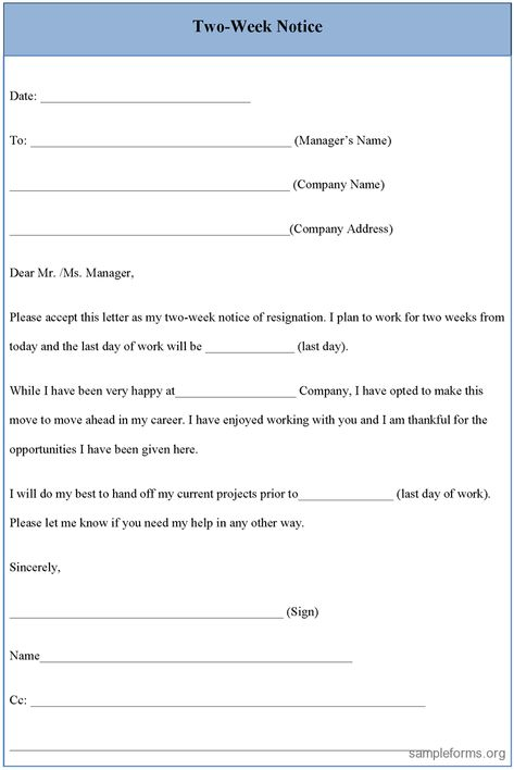 Resignation Letter 2 Week Notice. 17 Best Images About Letter Of