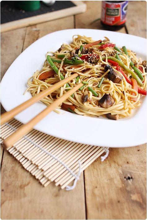 Nouilles chinoises sautées aux légumes   chefNini