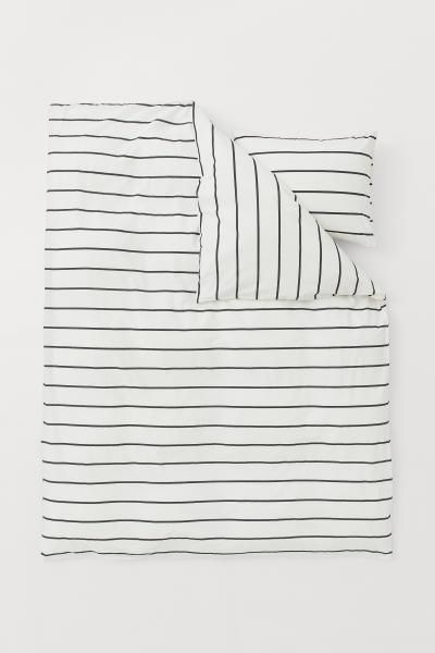 Striped Duvet Cover Set White Striped Home All H M Us Duvet Cover Sets Striped Duvet Covers Duvet Cover Pattern