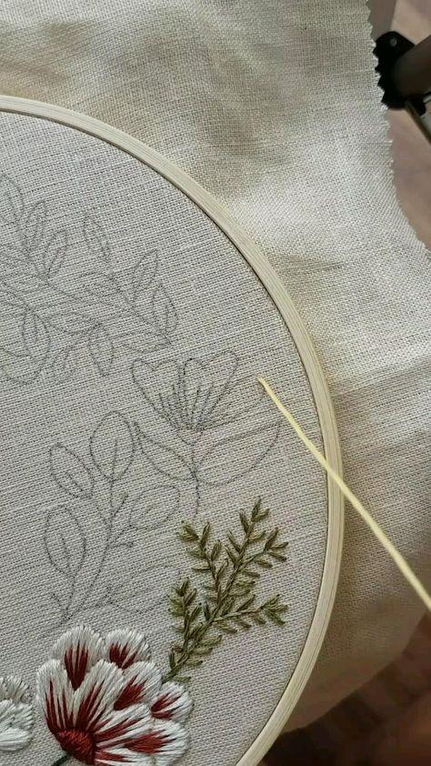 Satin stitch Hand embroidery