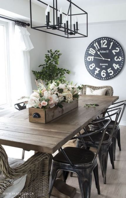 18 Ideas For Diy Kitchen Table Centerpiece Rustic Light Fixtures Modern Farmhouse Dining Room Farmhouse Dining Room Table Modern Farmhouse Dining