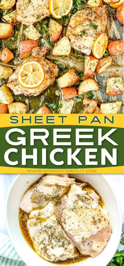This easy Greek Chicken recipe is loaded with authentic Greek flavors in an easy to make weeknight dinner! A lovely Greek marinade made with olive oil, lemon juice, oregano and garlic provides an abundance of bright, fresh flavor to chicken thighs and potatoes. // Mom On Timeout #dinnerideas #chickenrecipes #chicken #dinners #dinner #easydinners