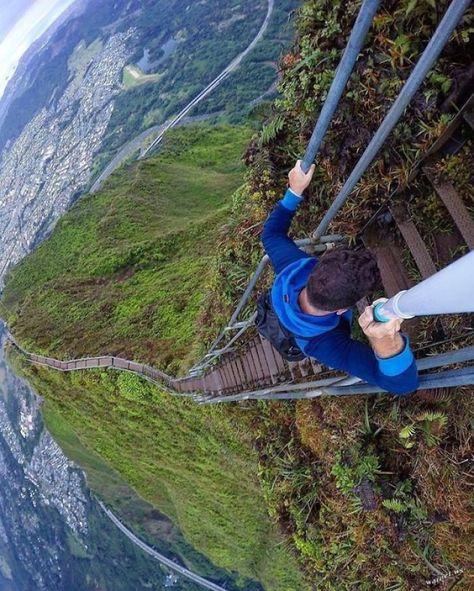 Hiking Haiku Stairs, Stairway To Heven In Oahu, Hawaii ---- One of our more popular Instagram activity is the hike in Hawaii. @oscarpedroso hiking up stairway to heaven in Hawaii. A different perspective of this beautiful and treacherous hike! Who else dares to hike this? Haiku Stairs a very popular bucket list attraction also known as the Stairway to Heaven is located in Oahu, Hawaii. This hike has been closed to the public, but is still very popular to those dare deviled individuals......