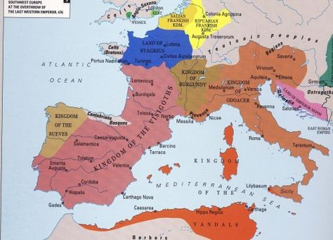 Western Europe After The Fall Of The Western Roman Empire In Ad