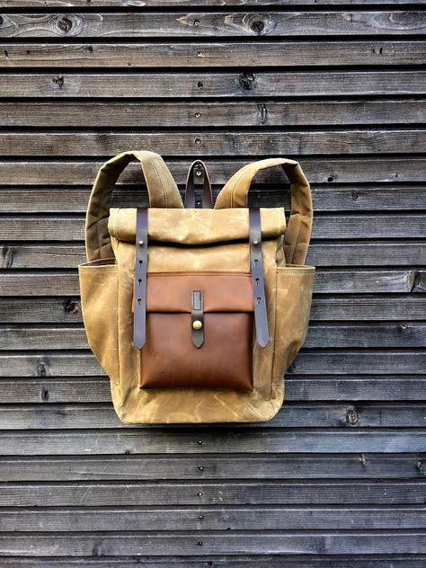 Green waxed canvas leather Backpack medium size  Commuter backpack   Hipster Backpack with roll top and leather bottom