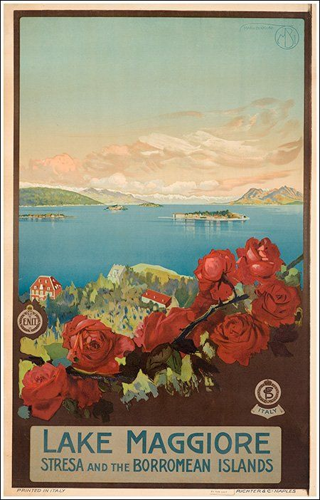 le lac majeur VINTAGE travel poster LOVELY FRENCH COASTLINE colorful 24X36