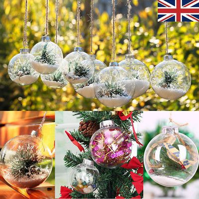 Clear Balls Baubles Sphere Fillable Box DIY Christmas Tree Ornament Home Decor