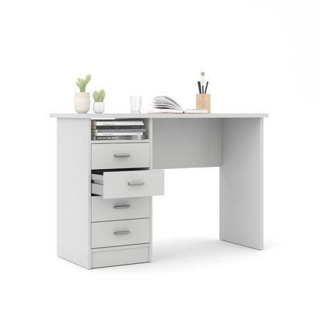 Tvilum Warner Computer Desk With Drawers White Finish Walmart Com Desk With Drawers White Desk Bedroom White Desk With Drawers
