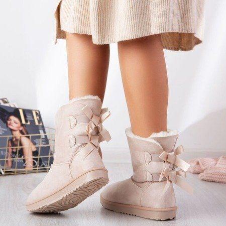 Bezowe Sniegowce Z Kokardkami Kylie Obuwie Ugg Boots Boots Shoes