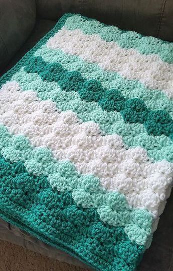 Baby girl shower gift Crochet baby blanket BrownPink Shells StrollerTravelCar seat size Baby Girl Blanket Crochet baby girl blanket