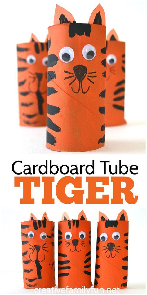 Grab some cardboard and paints to make this fun Cardboard Tube Tiger craft for kids. It& so much fun to make and play with! Grab some cardboard and paints to make this fun Cardboard Tube Tiger craft for kids. Its so much fun to make and play with! Cardboard Tube Crafts, Toilet Paper Roll Crafts, Paper Plate Crafts, Paper Crafts For Kids, Crafts For Kids To Make, Crafts For Girls, Fun Crafts, Cardboard Playhouse, Cardboard Paper