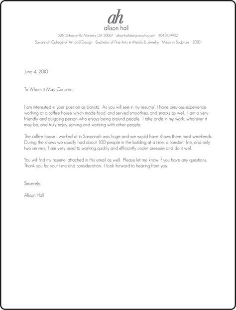 Cover letter barista CBD College Barista Basics Master Barista - find my resume