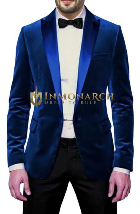 INMONARCH Hommes Marine Bleu Smoking rev