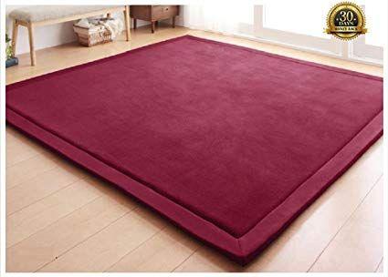 Higogogo Japanese Coral Velvet Carpet Thickness 2cm Wine Children Play Mat Plush Foam Bedroom Mat Area Rug Yo Living Room Carpet Bedroom Carpet Velvet Bedroom