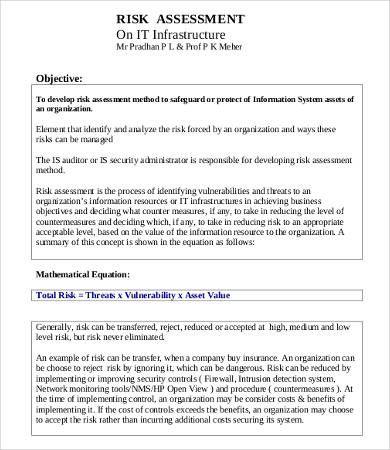 Risk Assessment Template Document Templates Words
