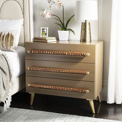 Grace your bedroom with a side table that is perfectly complimented with unique handles. 3 Drawer Dresser, 3 Drawer Chest, Dresser With Mirror, Dresser As Nightstand, Chest Of Drawers, Nightstands, Dressers, World Of Interiors, Plywood Furniture