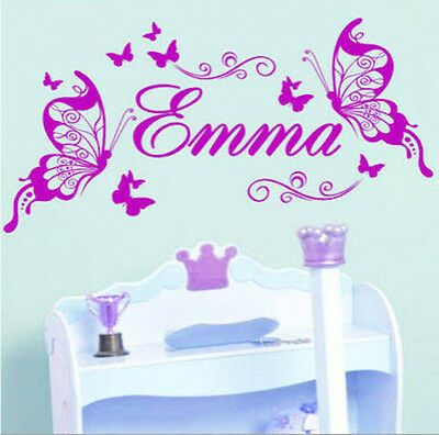 Girls//Kids Bedroom,Custom Vinyl Sticker Personalised Name//Butterfly Wall Art