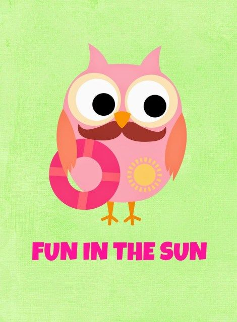 Owl summer. Free printables clip art