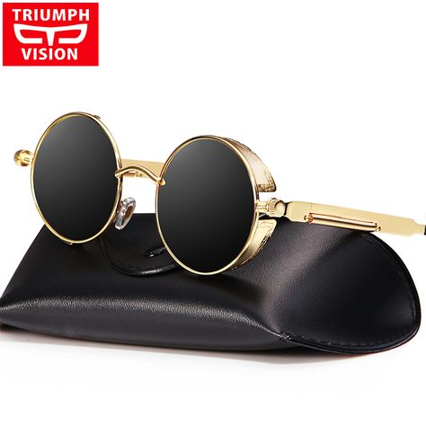 59a0c32da79e3 TRIUMPH VISION Vintage Round Steampunk Sunglasses Men Male Polarized Brand  2017 Shades Sun Glasses For Men Retro Gothic Lunette