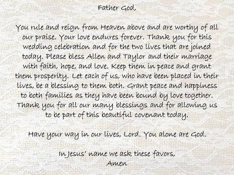 This wedding blessing prayer is pictured over a lacy burlap background for a rustic or shabby chic wedding. Christian marriages are often blessed with a prayer by family members. This written prayer may be printed for use at the reception and later framed as a gift to the couple.