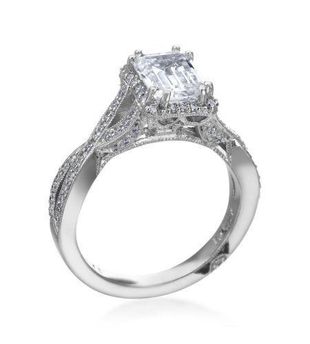 Tacori - Dantela Platinum Emerald Diamond Setting