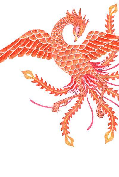 年賀状(鳳凰,鳥,縁起物,イラストレーション)New Year cards (phoenix, birds, lucky cards, illustration) | 鳳凰 イラスト, 絵手紙, 切り絵 図案