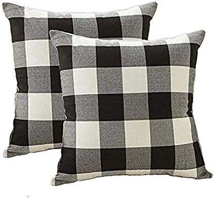 Farmhouse Decor Pillow Covers Black And White Buffalo Checkers Plaids Cotton Th