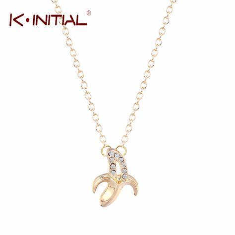 Kinitial 1PCS Cute Fruit Banana Necklace Pendant Gold Silver Collier Femme Bijoux Fashion Banana Chain Necklaces for Women 2017
