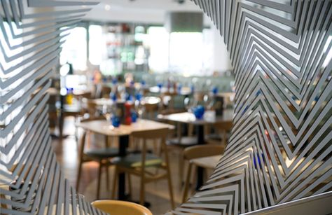 Vortex Imagery Is Imprinted On The Mirror At Pizza Express
