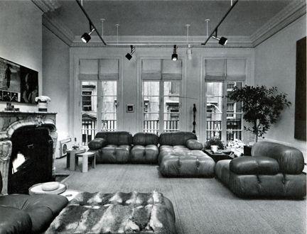 Fur throw and modular 70s furniture in New York Brownstone ...