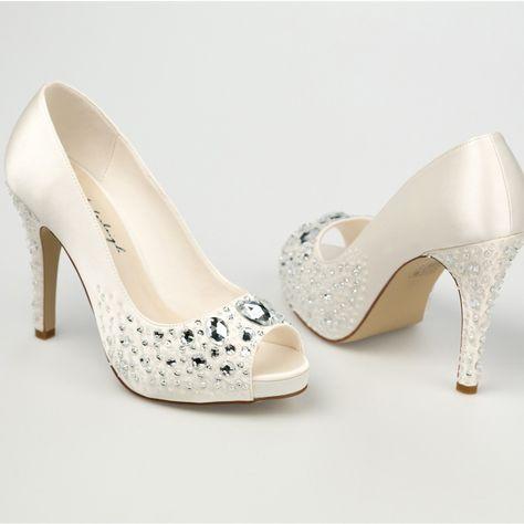 f02316c6b5d0 Chaussure mariage ivoire en satin à bout ouvert talon 11 cm .
