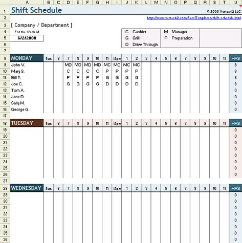 Download a free Work Shift Schedule spreadsheet for Excel Ideal - shift schedule template