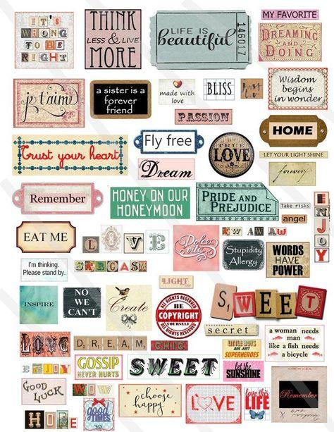 Digital collage sheet Words sentences Phrases quotes inspirational motivation Instant Download, Words collage sheet, motivation Words