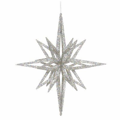 The Holiday Aisle 12 3d Star White Glow Glitter Star Ornament