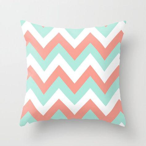 MINT & CORAL CHEVRON Throw Pillow by n