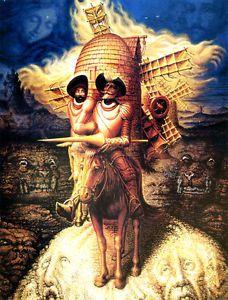 Octavio Ocampo Visions of Quioxote GICLEE 16.5X11.7 CANVAS PRINT