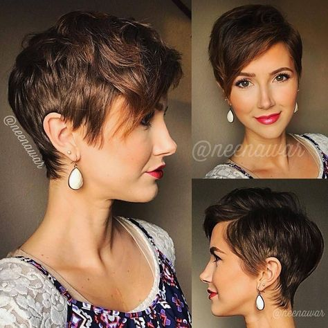 Awesome 47 Stunning Short Brown Hairstyle Ideas For Women. More at https://luvlyfashion.com/2018/11/16/47-stunning-short-brown-hairstyle-ideas-for-women/