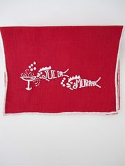 """""""They drink like fish"""" Cocktail Napkins- Red & White from Julia B. Custom Linens on Taigan"""