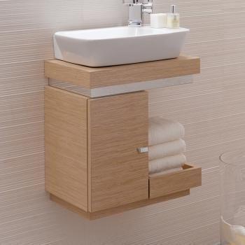 Keramag Silk Hand Washbasin Cabinet Oak Real Wood Veneer Cabinet