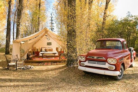 Tent and vintage truck