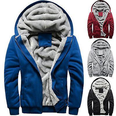 Men Winter Warm  Zip Up Hooded Baseball Jacket Sweatshirt  Fleece Fur Lined Coat