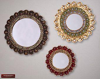 Round Wall Mirrors Set 3 Gold Blossoms Peruvian Mirror Wall