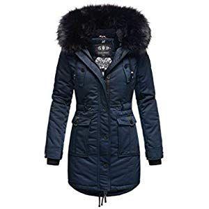 Marikoo Designer Damen Winter Jacke Parka Mantel Teddyfell