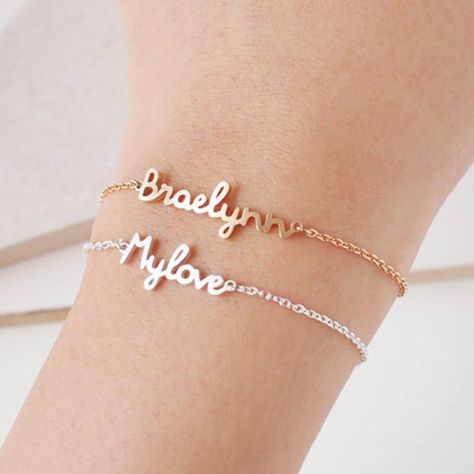 Best Price Personalized Custom Name Bracelet Charms Handmade Women Kids Jewelry Engraved Handwriting Signature Love Message Customized Gift