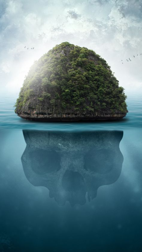 Sea, island, fantasy, skull, 720x1280 wallpaper