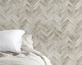 Chevron Grey White Wood Accent Wallpaper Grey White Wood Etsy Herringbone Wallpaper Peel And Stick Wallpaper Accent Wallpaper