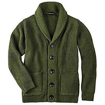 VOBOOM Men's Knitwear Button Down Shawl Collar Cardigan