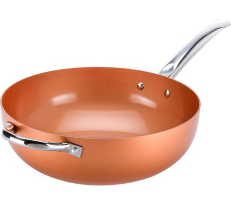 High Street Tv Copper Chef Ccwok12 30 Cm Non Stick Wok Copper Copper Chef Copper Cheap Cookware