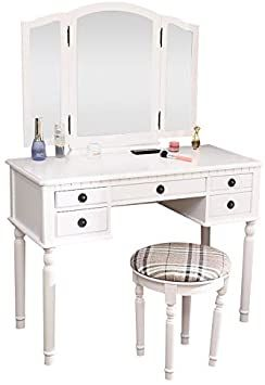 Yyao Vanity Set Makeup Furniture With Three Fold Mirror Amp 5 Drawers Stylish Roman Column Makeup Vanity Table An In 2020 Vanity Table Set Mirror Drawers Wood Vanity
