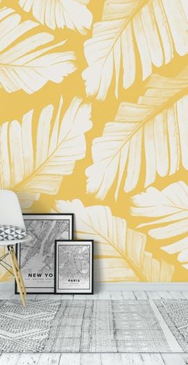 Buy Yellow Banana Leaves Dream 1 Wall Mural Free Us Shipping At Happywall Com Creative Wall Painting Asian Paints Wall Designs Wall Paint Designs